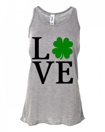 Love Shamrock Four Leaf Clover Tank Top // St Patricks Day Tank Top