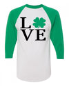 Love Shamrock Kids Baseball Shirt