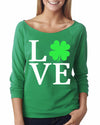 Love Shamrock St Patricks Day 3/4 length long sleeve shirt