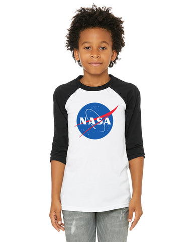 NASA Youth/Toddler/Kids 3/4 Length Raglan Baseball T Shirt