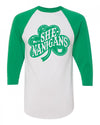 St Patty's She-Nanigans green raglan shirt for women