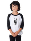 Skeleton Peace Sign Kids Baseball Shirt
