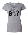 That's My Boy Football Mom Womens V-Neck T-Shirt