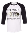 The North Never Forgets Wolf Unisex Baseball Shirt