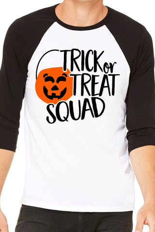 Trick Or Treat Squad Halloween Baseball Shirt for Men and Women