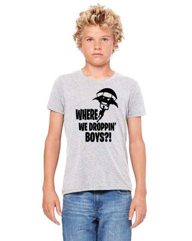 Where are We Dropping Boys? Gamer Kids Youth Boys Tshirt