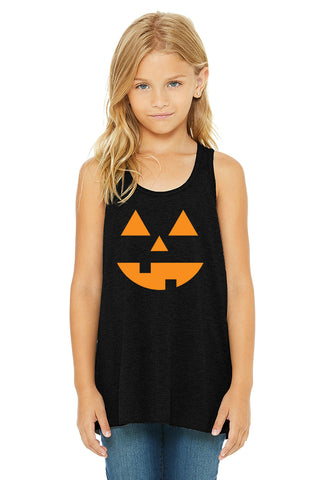Jack O'lantern Pumpkin Halloween Girls Youth Tank