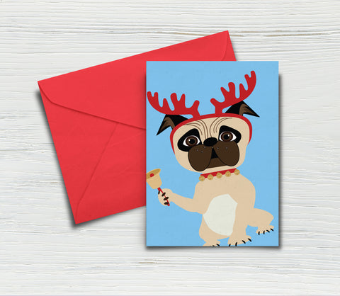 Printable Illustrated Dog with Antlers Christmas Card