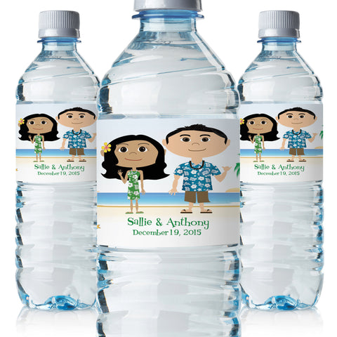 Custom Hawaii Wedding Water Bottle Labels