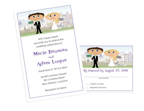 Custom Cartoon Portrait Wedding Invitation Set