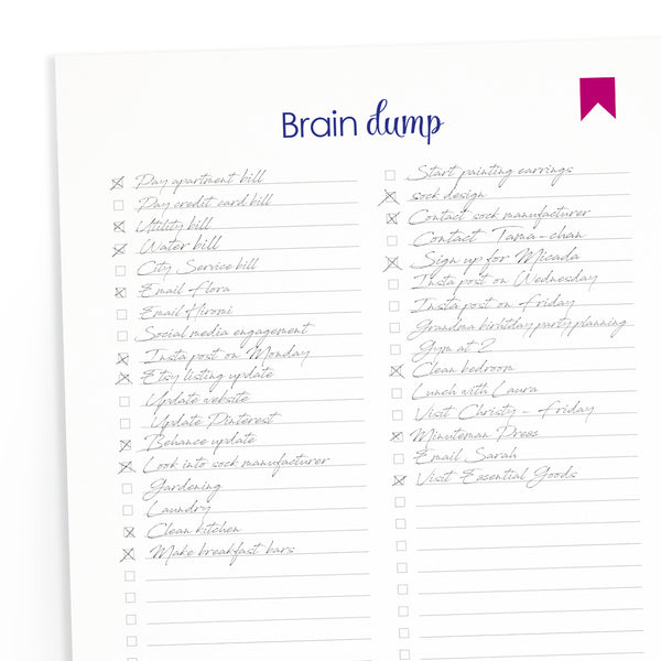"Printable ""Brain Dump"" Checklist Downloadable"