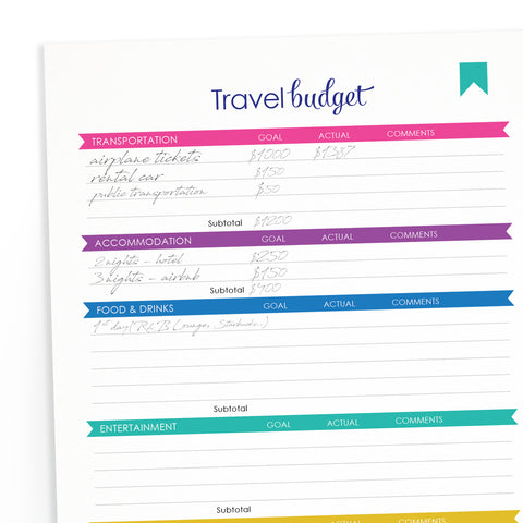 FREE Printable Travel Budget