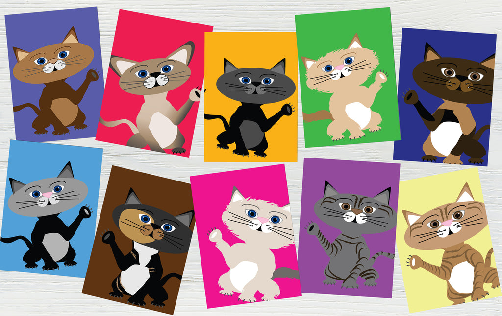 Printable Pack of 10 Illustrated Cat Card Set