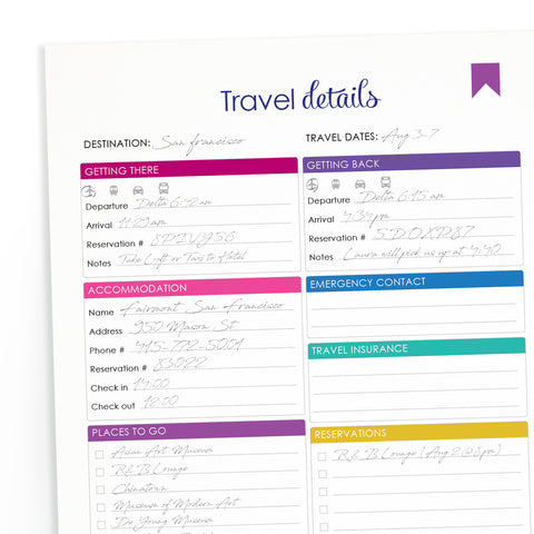 Printable Travel Itinerary