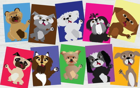 Printable Pack of 10 Illustrated Dog Card Set