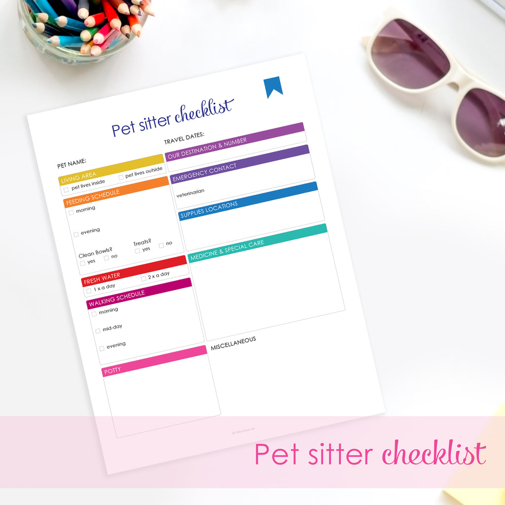 printable pet sitter checklist 76th street ink