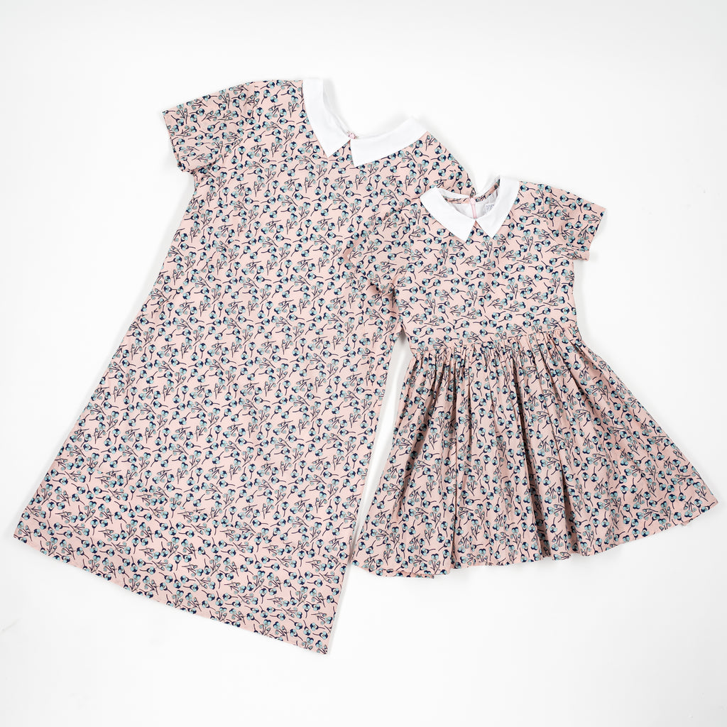 Pink with bleu flowers Liberty of London Donna dress - Poisson Pompon,Dress - kids clothing