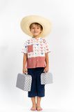 Boy Tops Flag Fabric with Check border - Poisson Pompon,Top - kids clothing
