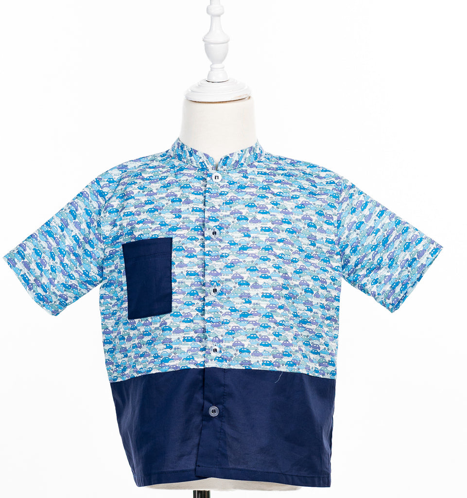 Boy Tops with Liberty Cars Cotton Voile Print - Poisson Pompon,Top - kids clothing
