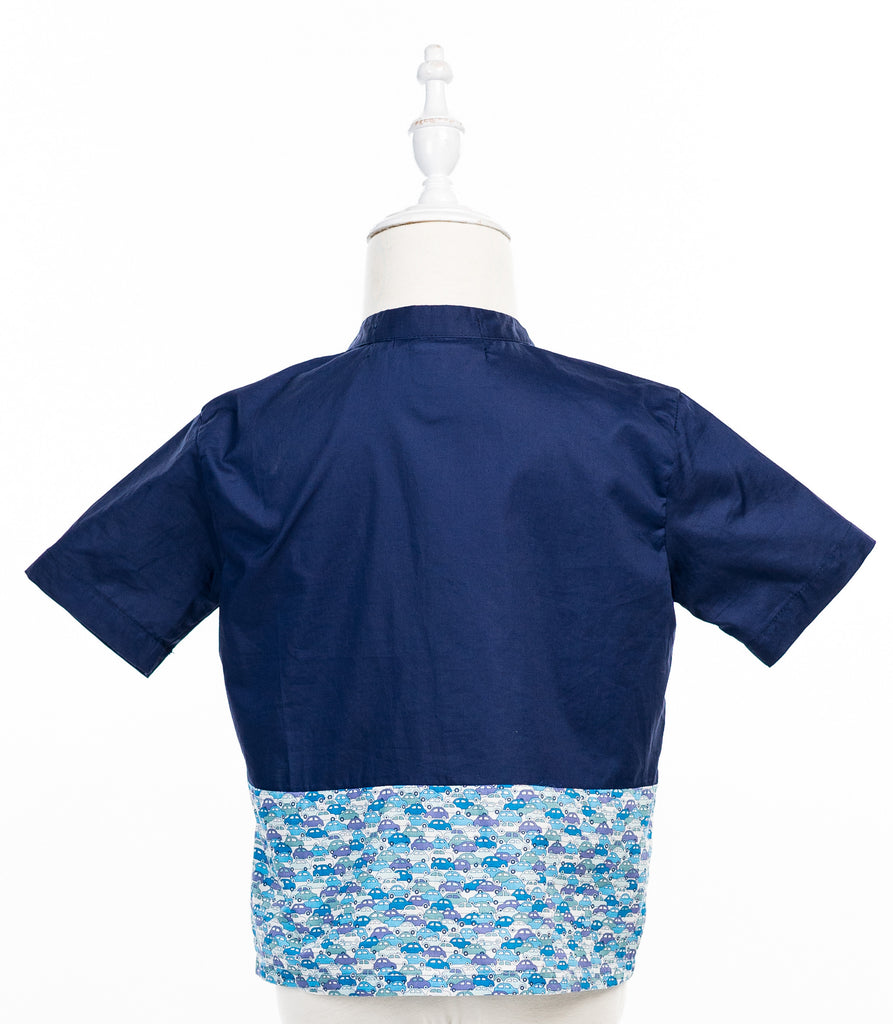 Boy Tops navy bleu cotton with liberty cars border - Poisson Pompon,Top - kids clothing