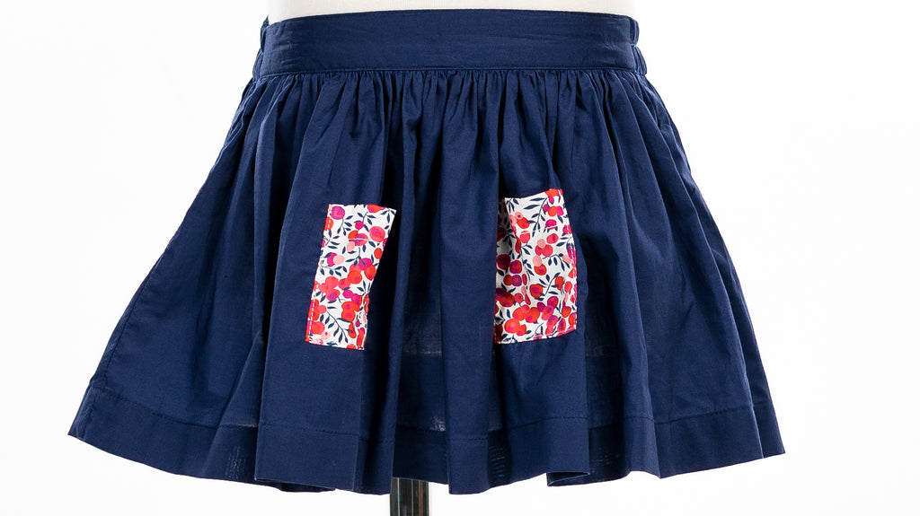 Juliette Skirt, Navy bleu with red liberty fabric pockets - Poisson Pompon,Bottom - kids clothing