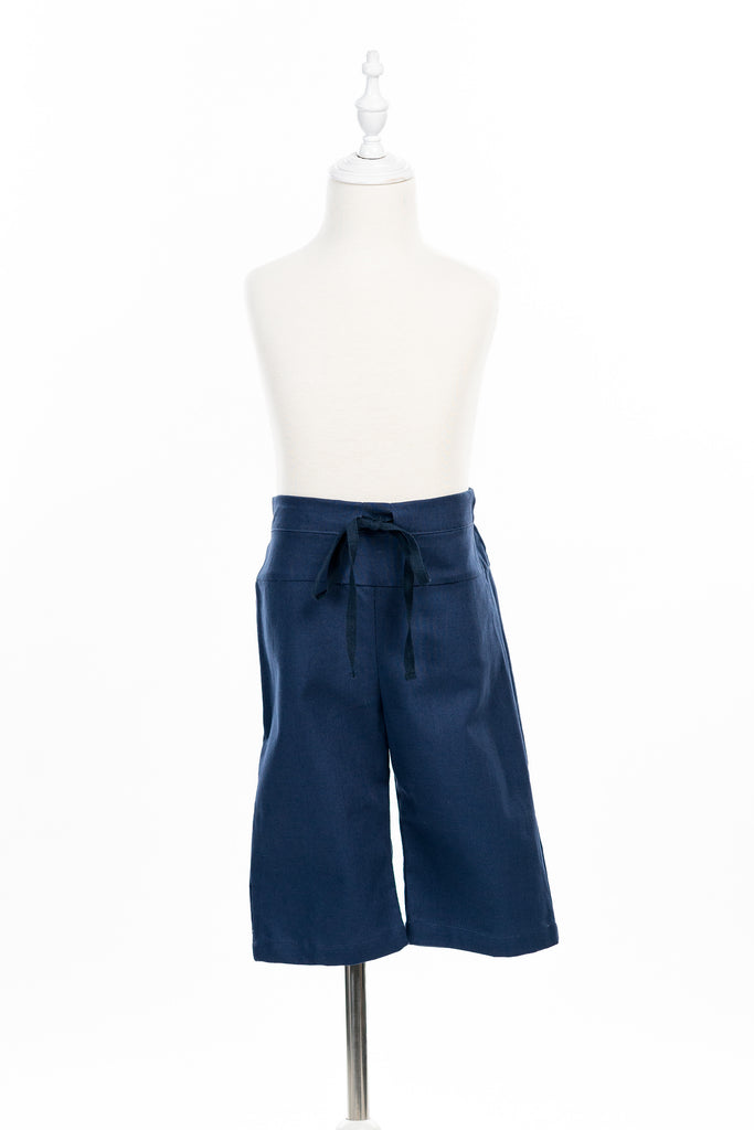 Navy bleu cotton pants with cars pocket - Poisson Pompon,Bottom - kids clothing