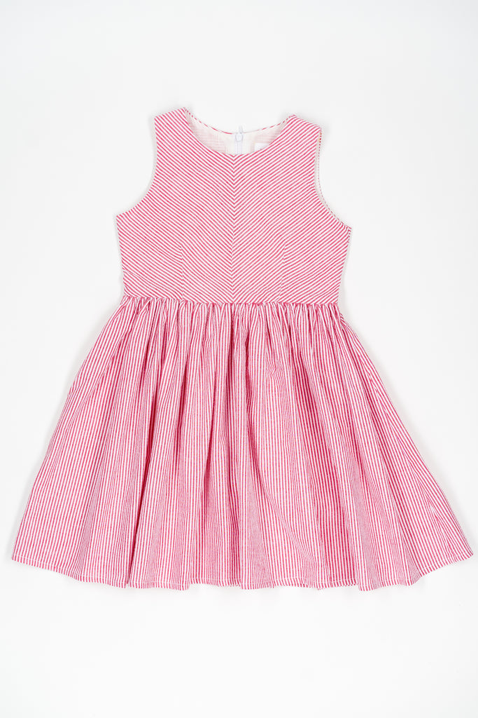Red striped Jess dress - Poisson Pompon,Dress - kids clothing