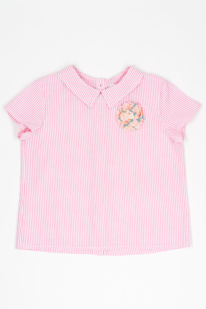 Pink stripe Donna top - Poisson Pompon,Top - kids clothing