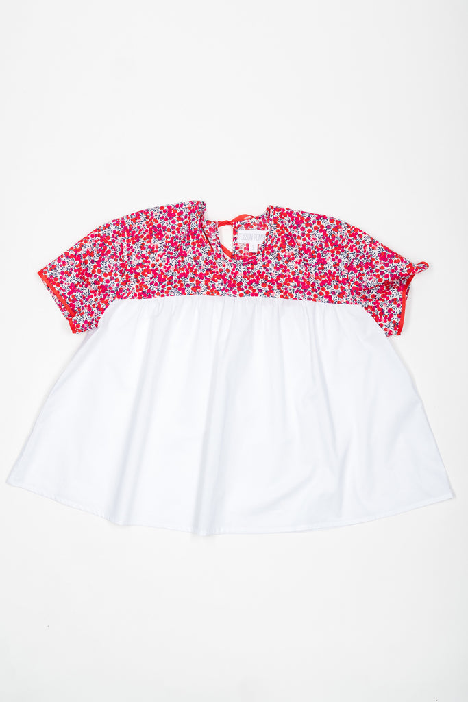 Matching Tops, Liberty Wiltshire red flower cotton voile - Poisson Pompon,Top - kids clothing