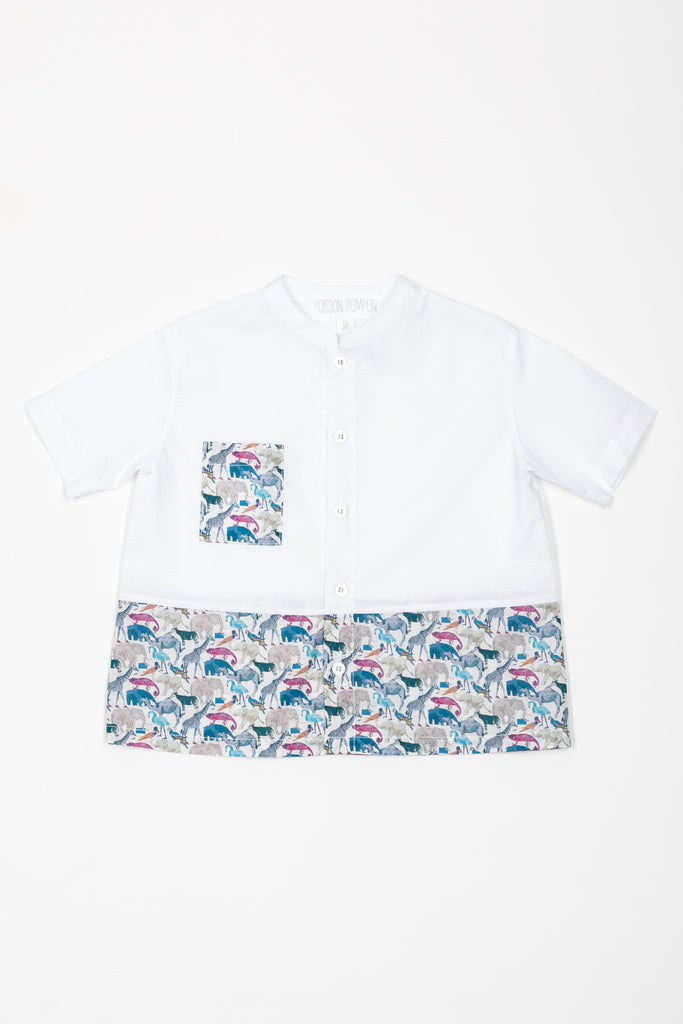 Matching Tops, Liberty queu for the zoo bleu cotton voile - Poisson Pompon,Top - kids clothing