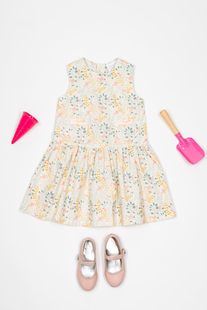 Classic pompon dress with pink birds - Poisson Pompon,Dress - kids clothing
