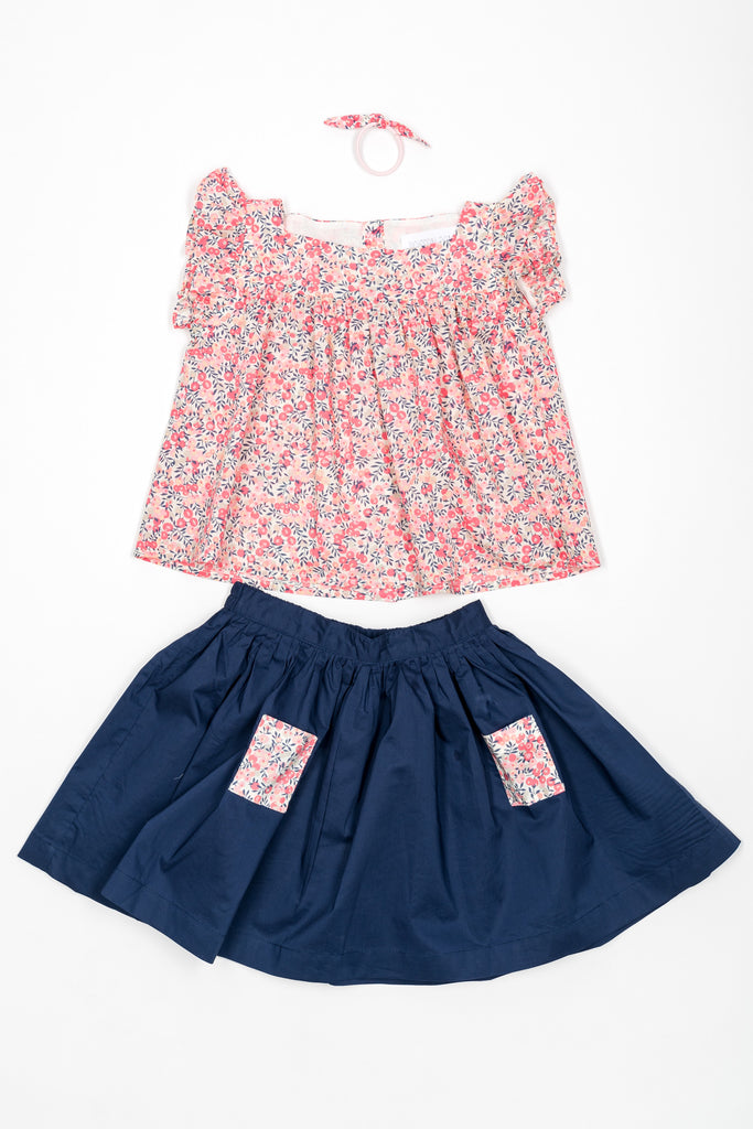 Juliette Skirt, Navy bleu with pink liberty fabric pockets - Poisson Pompon,Bottom - kids clothing