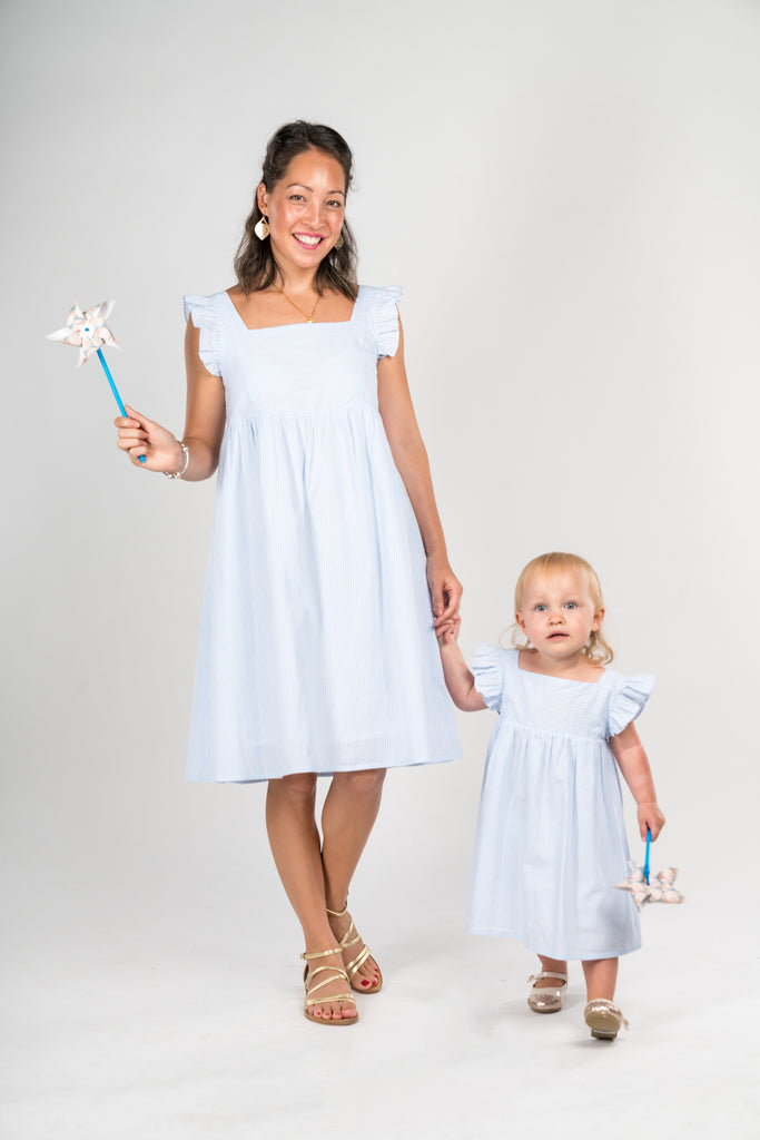 Poisson Pompons bestselling bleu/white strips collection! - Poisson Pompon,Dress - kids clothing