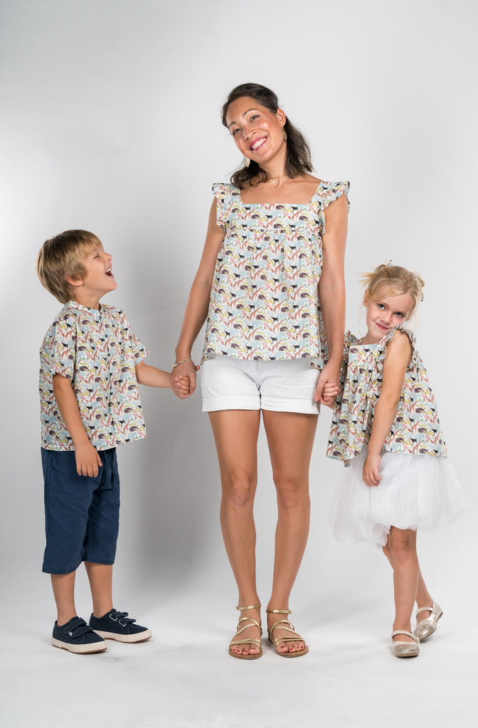 Matching Tops, Liberty queu for the zoo pink cotton voile - Poisson Pompon,Top - kids clothing