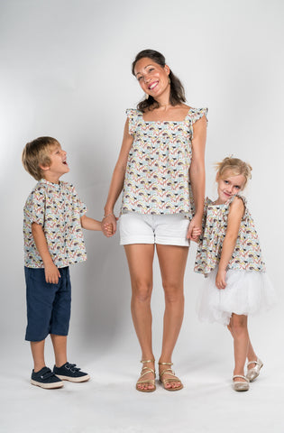 Boy Tops navy bleu cotton with liberty cars border