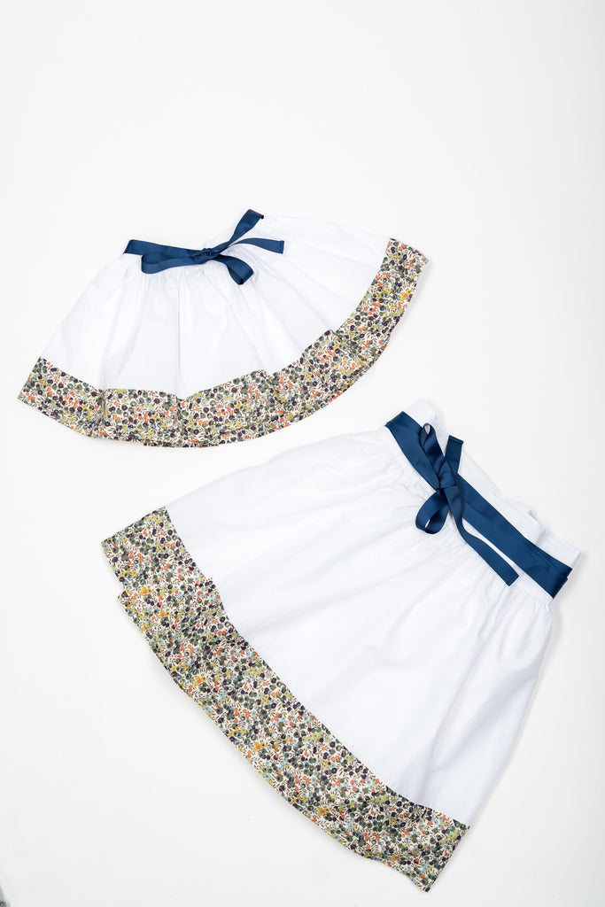 Matching Skirts, Liberty Wiltshire bleu flower cotton voile - Poisson Pompon,Bottom - kids clothing