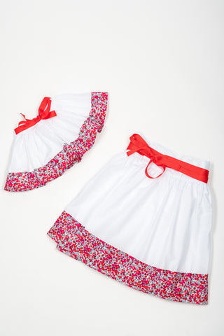 Matching Skirts, Liberty Wiltshire pink flower cotton voile