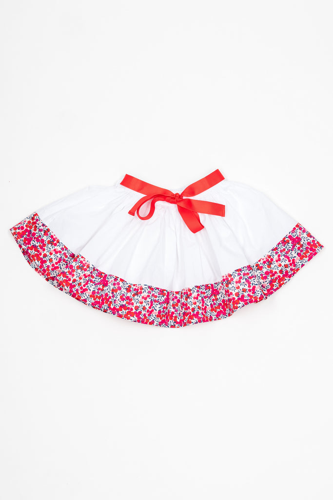 Matching Skirts, Liberty Wiltshire red flower cotton voile - Poisson Pompon,Bottom - kids clothing