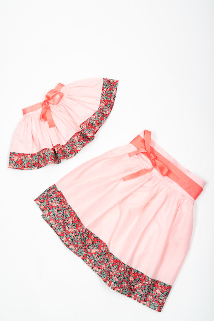 Matching Skirts, Liberty Wiltshire pink flower cotton voile - Poisson Pompon,Bottom - kids clothing