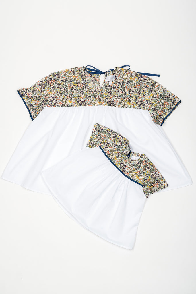 Matching Tops, Liberty Wiltshire bleu flower cotton voile - Poisson Pompon,Top - kids clothing