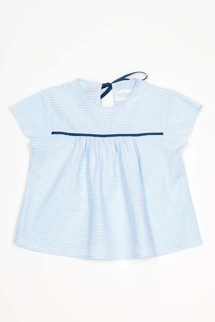 Juliette Top,  Bleu and white stripes - Poisson Pompon,Top - kids clothing