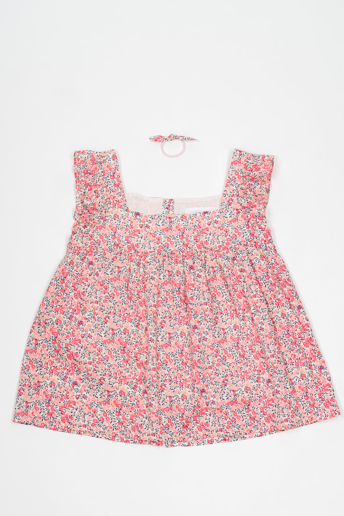 Matching Alix Tops, Liberty Wiltshire pink flower cotton voile - Poisson Pompon,Top - kids clothing
