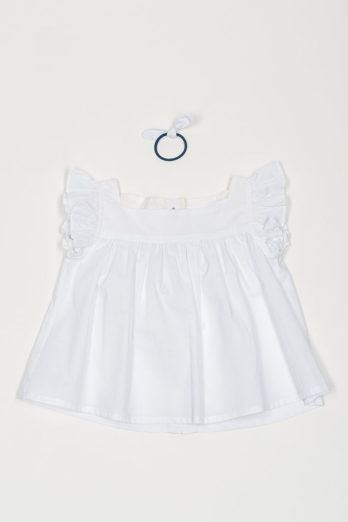Matching Alix Tops, White 100% Cotton - Poisson Pompon,Top - kids clothing