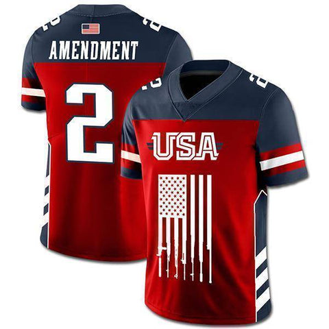 Image of USA 2nd Amendment Football Jersey v2-Greater Half