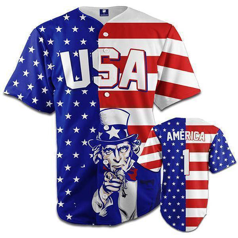 American Flag Baseball Jersey-Greater Half
