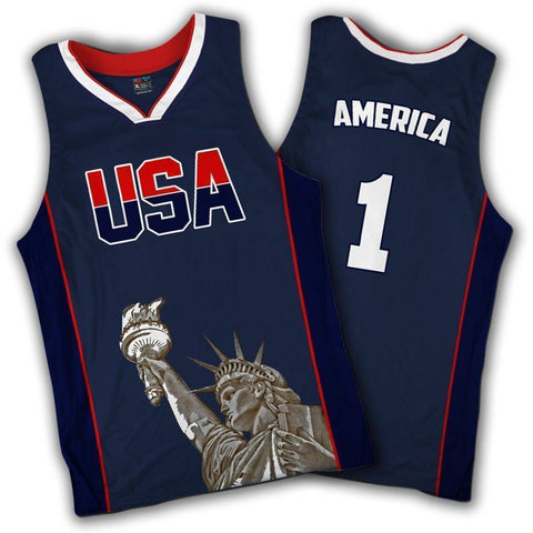 Image of Limited Edition Blue America #1 Basketball Jersey Shirt Greater Half 4XL