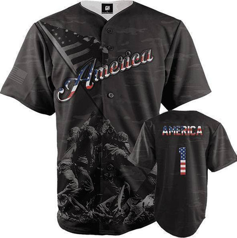 Image of America #1 Black Camo Baseball Jersey-Greater Half