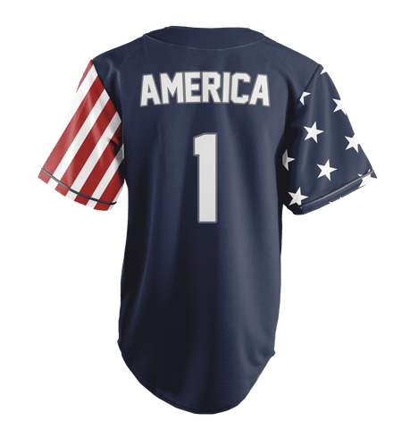 Image of Blue America #1 Baseball Jersey Shirt Greater Half