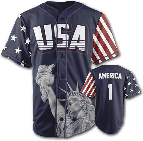 Image of Blue America #1 Baseball Jersey-Greater Half