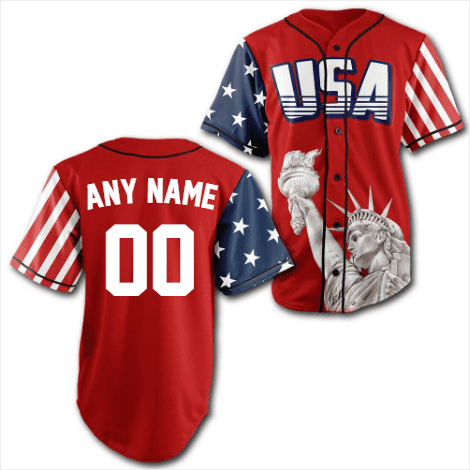 Image of Custom Red USA Baseball Jersey-Greater Half